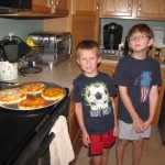 The boys with the pizzas