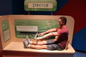 Mark seeing how far he can stretch.