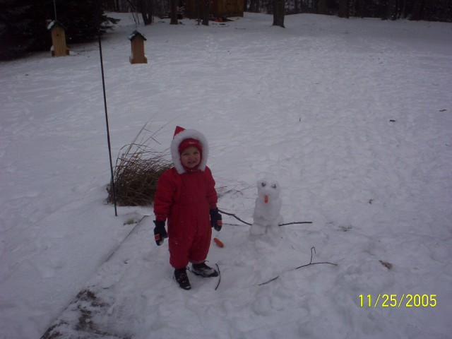 Our first snowman!  It was little!