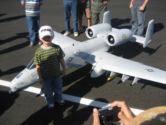 Camden at an airplane show