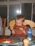 Carsten grabbed this turkey leg off the plater and started chowing down!