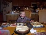 Camden enjoying the chocolate off the top of a dessert after dinner!